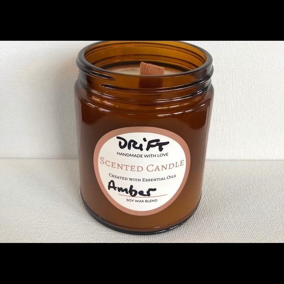 Driftwood & Amber Scented Soy 9oz Wooden Wick
